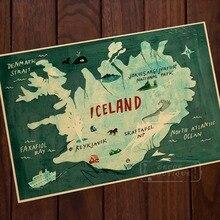 Mapa de Islandia ilustración tipografía mapa artístico de belleza Vintage Retro cuadro de lona Poster DIY pared pósteres casa decoración regalo