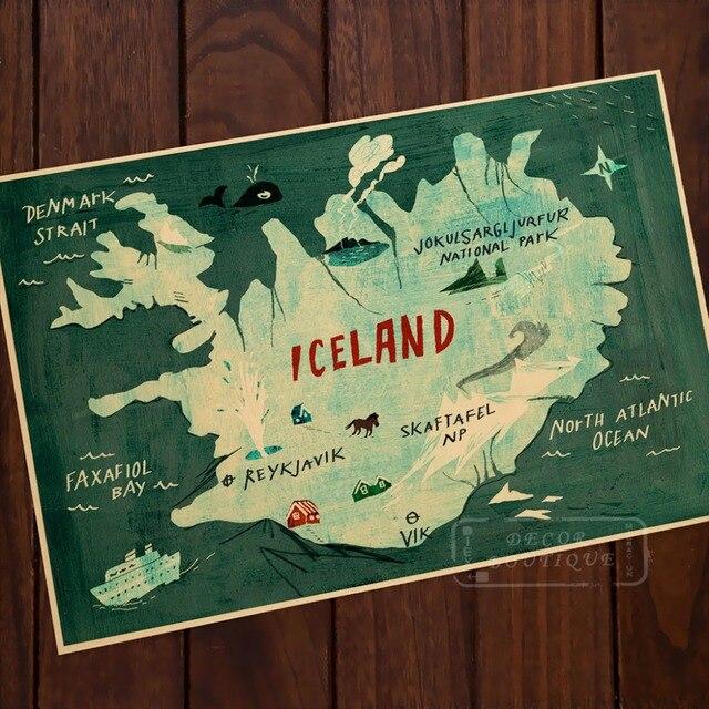 Islandia mapa ilustración tipografía mapa belleza arte vintage retro ...