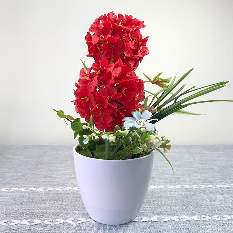 Artificial Potted Hydrangea Flowers Set Vase Bonsai Fake Plants Wedding Home Party Desktop Decorations
