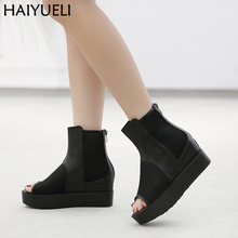 Summer Boots Ankle Female Open Toe Platform Wedges Sandals Fashion Chunky Heels Black Zipper High Boots Casual Women Wedge Shoes 14cm high heel sandals female platform open toe cool boots wedges