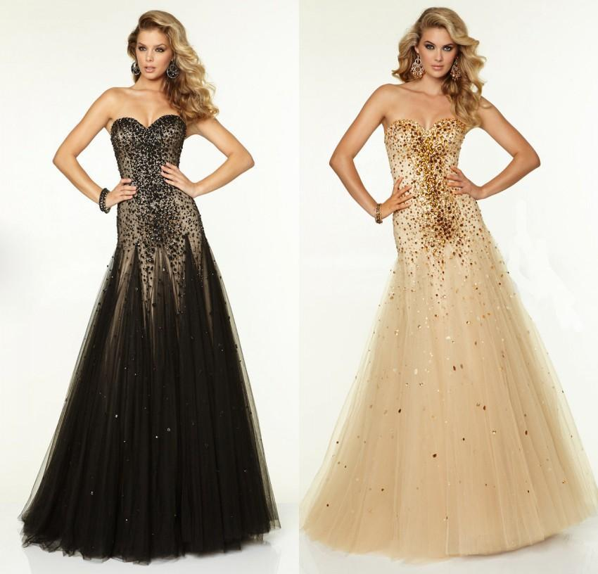 Sexy Mermaid Prom Gown 2018 Sweetheart Beading Lace Mermaid Black Champagne Floor Length Party Mother Of The Bride Dresses