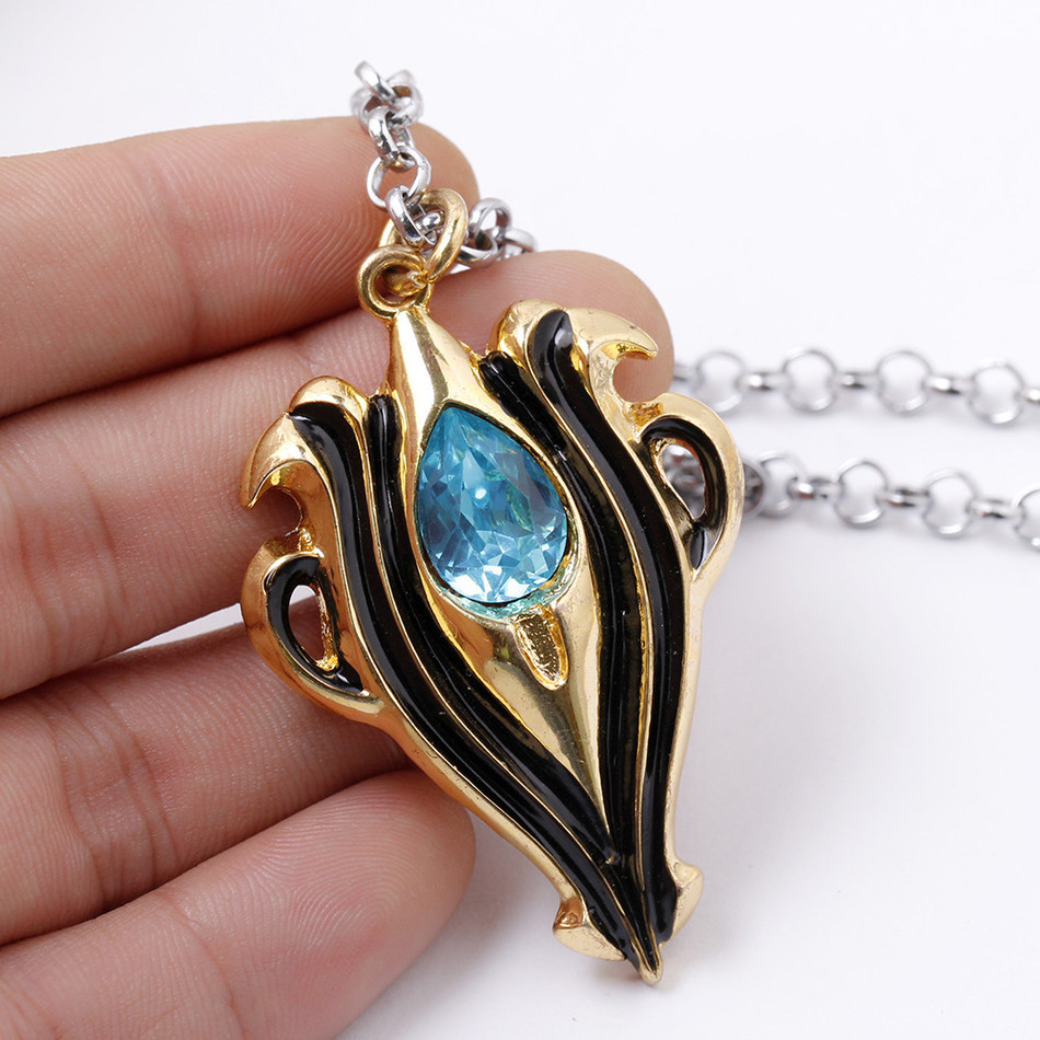 anime necklace jewelry fire emblem gold chain pendant crystal male charm aqua azura cool golden necklaces neckless wter drop link