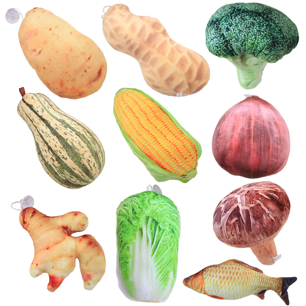 10 Styles Kawaii Simulation Vegetables Plush Pendant Toys Staffed Cute Fish Plants Doll Cute Bag Pendant Creative Gift for Girls