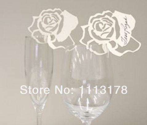 Free shipping Cheap Wine Glass markers Wedding Cake Toppers birthday baby shower Party Decorations flower white image