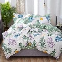 100% Cotton leaf print floral bedding set bed linen duvet cover kid adult brief style princess hometextile bedclothes bedspread