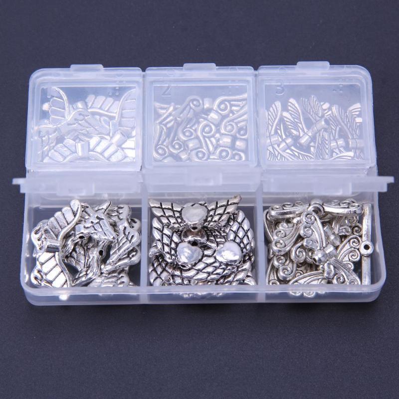 60 pçs colar de prata jóias componentes liga borboleta anjo asas diy decoração charme jóias pingente corrente colar acessórios
