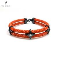 Customize Colorful High end Stingray Girl Bracelet With 925 Sterling Silver Star Charming Stingray Bracelet Best Friendship Gift