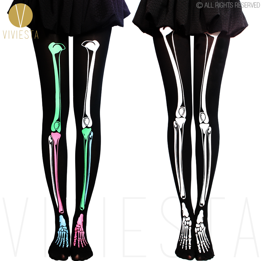 skeleton print tights 80d women halloween party sexy opaque skull bone horror scary costume legwear - Halloween Tights For Women
