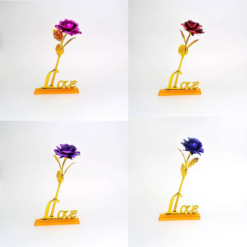 24 K oro plateado oro rosa con amor stand marco decoración flor Día ...