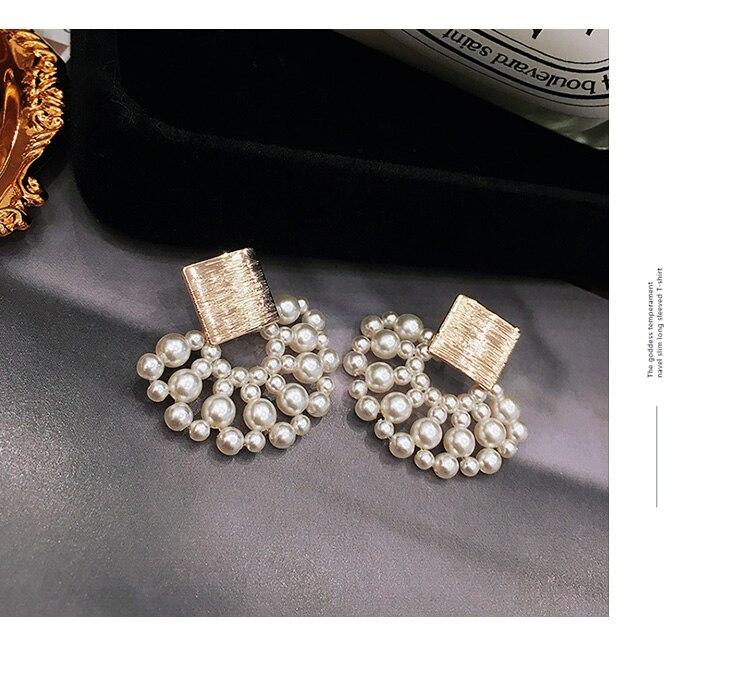 Vintage Simulated-pearl Geometric Women Dangle Earrings Sector Pearl Earrings Bohemian Drop Earrings 3