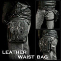 New High Quality PU Leather Men Drop Leg Bag Punk Rock Motorcycle Sword Pattern Messenger Shoulder Cross Body Waist Fanny Pack