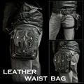 New High Quality PU Leather Men Drop Leg Bag Punk Rock Motorcycle Sword Pattern Messenger Shoulder Cross Body Waist Fanny Pack