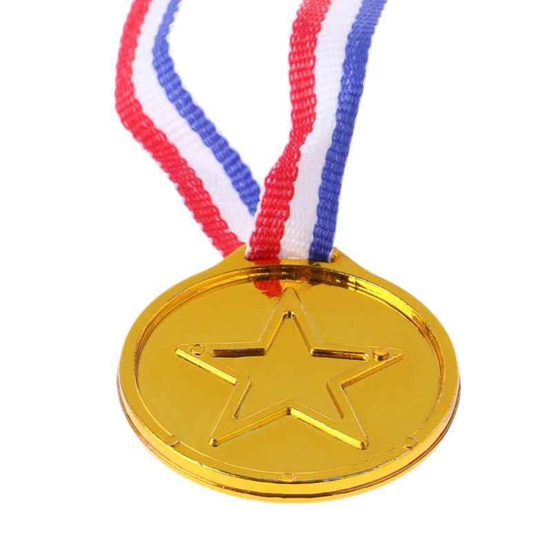 12 шт Пластиковые золотые медали победителя, школьные принадлежности для детей, игрушки, реквизит для фотосессии, Oct20-A
