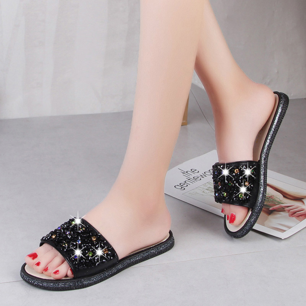 Solid Color Crystal Diamond Slippers Summer Women Slippers Bling Beach Slides Flip Flops Ladies Sandals Casual Shoes