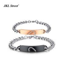 The Zircon Heart Puzzles Lover Bracelet Titanium Steel Rose Black Plated Bulk Cuban Chains Amatory Bracelet