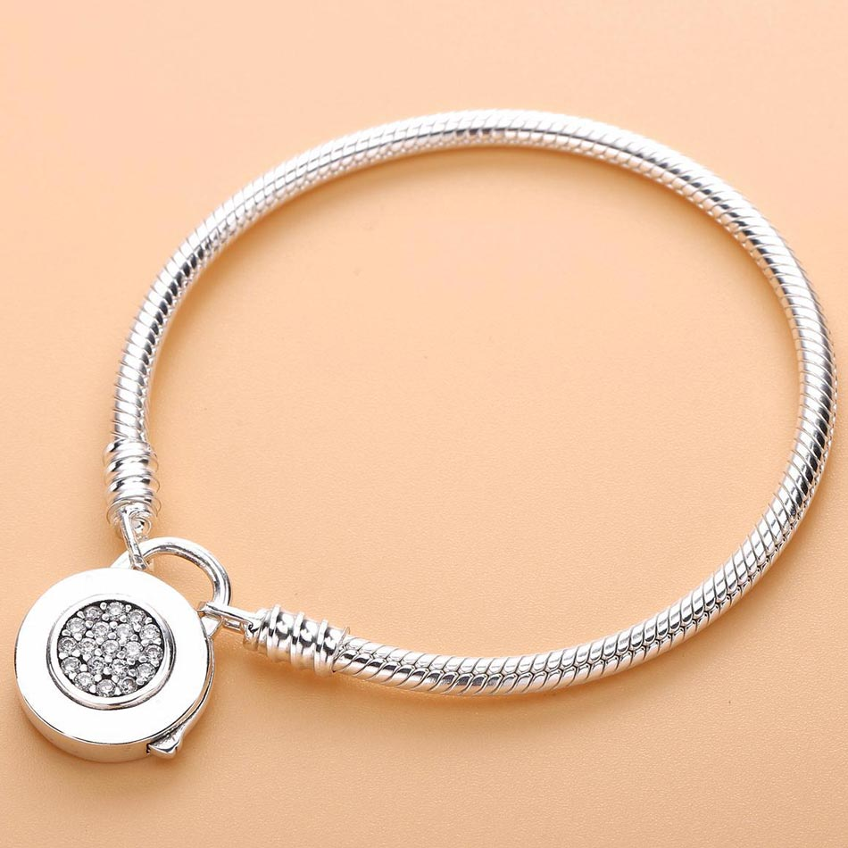 Logo Signature Padlock MOMENTS Smooth Snake Bracelet Bangle Fit Bead Charm DIY Pandora Jewelry 925 Sterling Silver Bracelet 925 sterling silver bracelet rose logo signature padlock smooth snake bracelet bangle fit bead charm diy pandora jewelry