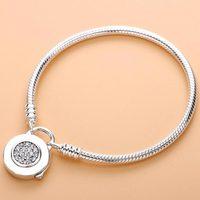 Logo Signature Padlock MOMENTS Smooth Snake Bracelet Bangle Fit Bead Charm DIY Pandora Jewelry 925 Sterling Silver Bracelet
