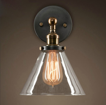 Edison wall lamp Nordic style Large diameter Transparent glass wall light vintage wall lamp contains Edison bulbs free shipping rural style wall lamp vintage wall lamp edison wall light contains edison bulbs free shipping