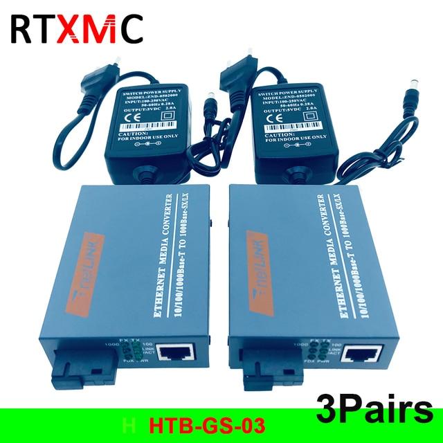 HTB GS 3 Pairs Gigabit In Fibra Ottica Media Converter 10/100/1000 Mbps Modalità Singola Singola Fibra SC Porta 20 KM di Alimentazione Esterna di Alimentazione