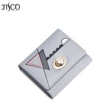 Women PU Leather Wallets Lady Foldover Pouch Fashion Clutch Handbags Geometric Lock Square Purse Female Elegant Card Gift box