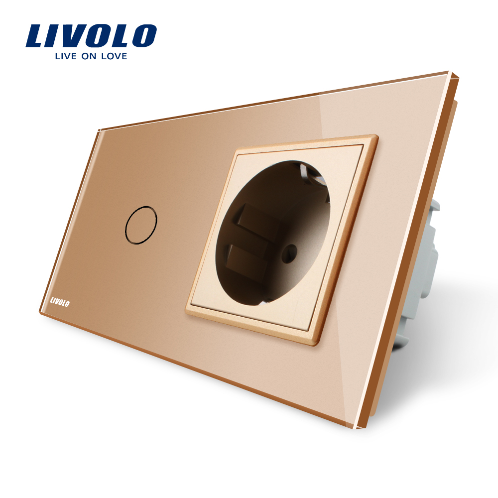 Livolo EU standard Touch Switch,Golden Crystal Glass Panel,AC 220~250V 16A Wall Socket with Light Switch,VL-C701-13/VL-C7C1EU-13 livolo us standard base of wall light touch screen remote switch ac 110 250v 3gang 2way without glass panel vl c503sr
