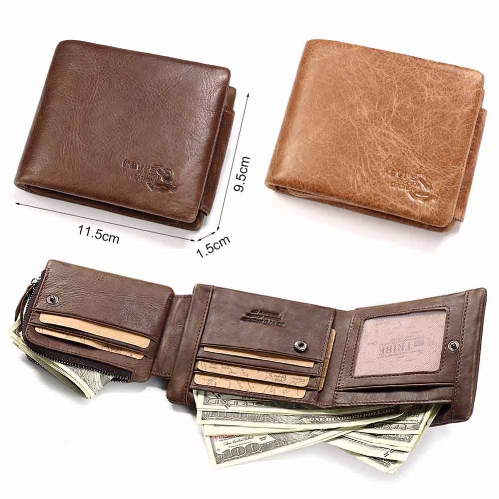 KAVIS New Free Engraving Trifold Genuine Leather Wallet Men Coin Purse Male Cuzdan Portomonee PORTFOLIO Card Holder Crazy Horse