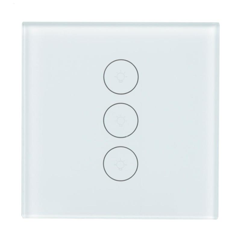 EU WiFi Smart Switch 3 Gang Wireless Wall Light Switch Touch Panel APP Timing Schedules Work with Amazon Alexa Google Home IFTTT smart home us black 1 gang touch switch screen wireless remote control wall light touch switch control with crystal glass panel