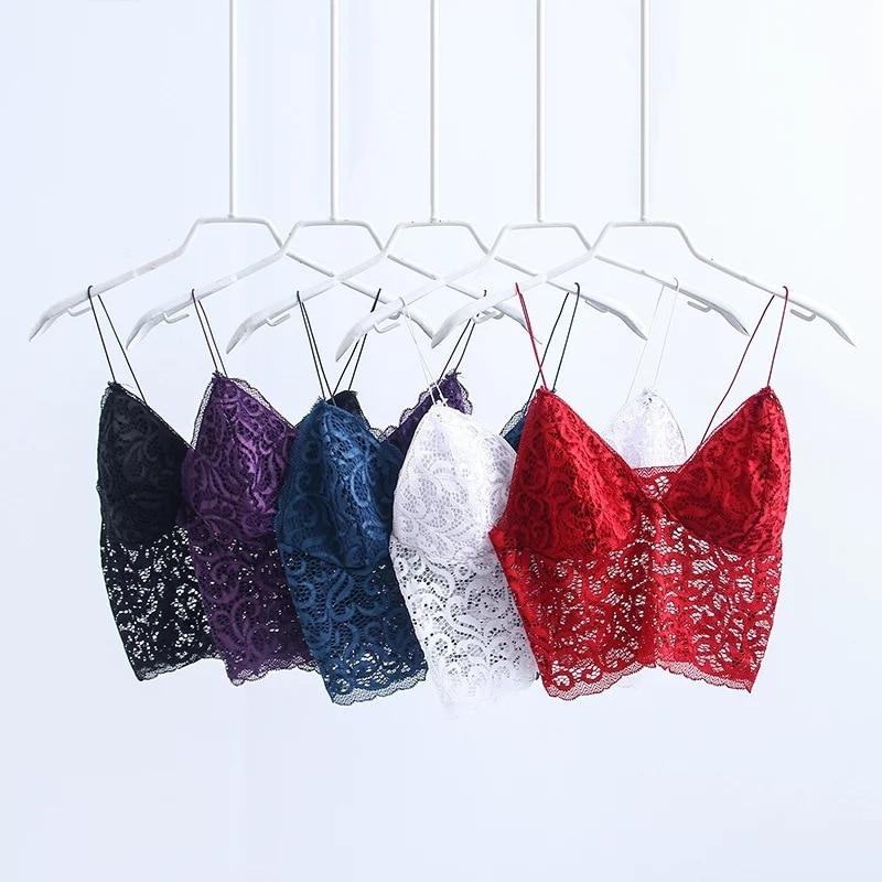 1a1435df36 Bandage Spaghetti Ladies Camisole Black White Lace Bralette Sexy Strap Tank  Top Women Crop Top V ...