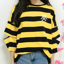 Monsta x logo printing stripes t shirt for kpop fans supportive fashion hollow out sleeve o neck t-shirt for summer one size
