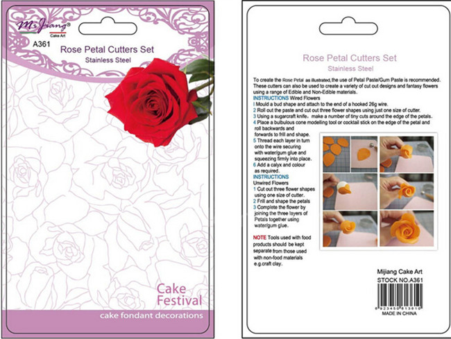 4PCS / Lot Үлкен Роза Роза гүлінің кескіш - Тағамдар, тамақтану және бар - фото 6