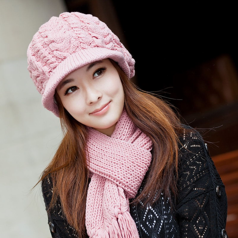 100% cotton winter hat female knitted hat scarf twinset female knitted hat winter women's new brand female knit cap scarf sets