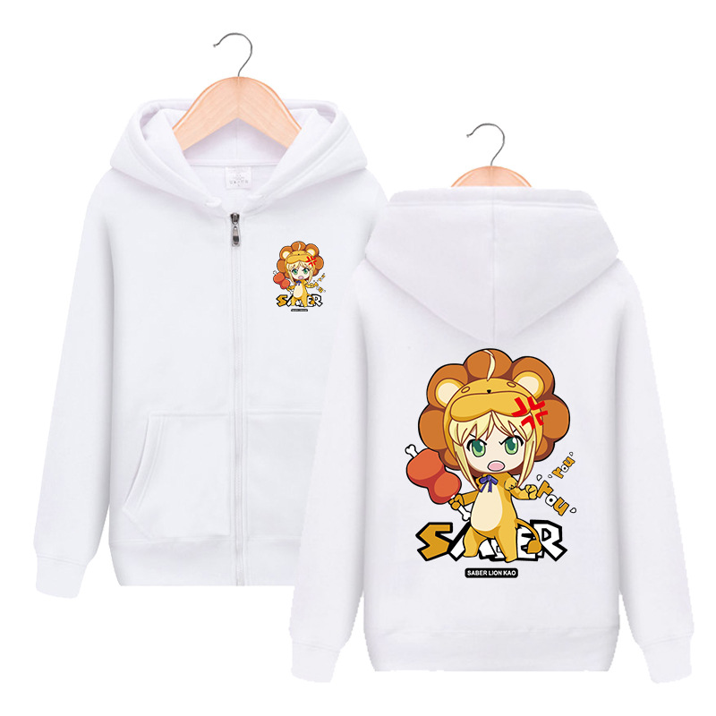 Fate/stay night Saber Lion Zipper Hooded Hoodie Cosplay Costume Fate Zero Men Women Jacket Casual Sweatshirt Streetwear