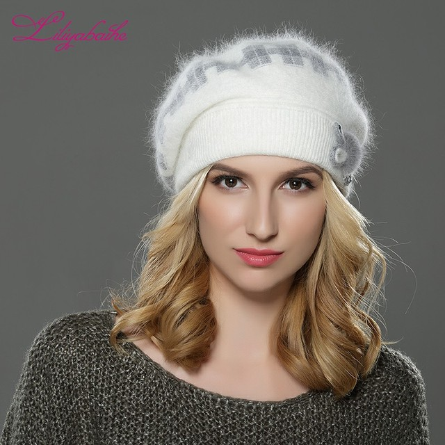 b14d0c4a19f LILIYABAIHE NEW Style winteWomen beret hat knitted wool angora beret  classic grid of mink flower decoration cap Double warm hat
