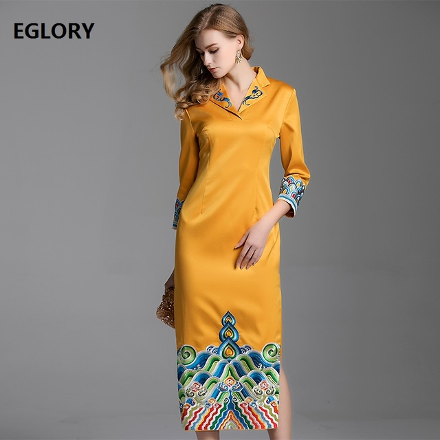 42b35cb65259 Top Quality Brand Chinese Dress 2019 Spring Fashionable Women Luxurious  Embroidery Patchwork Qipao Party Midi Dresses Yellow