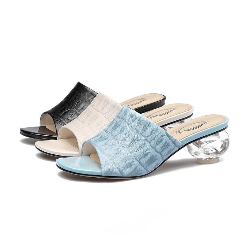 EGONERY koyun derisi baskı slaytlar kadın terlik yaz mavi sandalet 4.5cm med kristal topuklu hakiki inek deri katır ayakkabı
