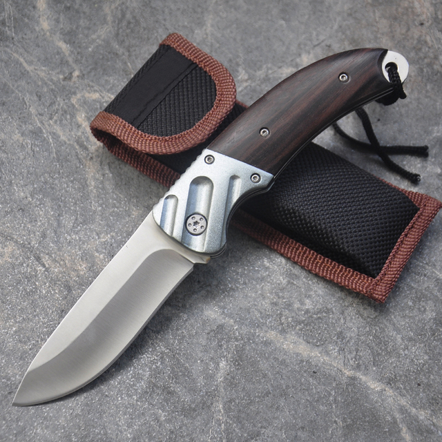 New Folding Knife 7Cr17Mov Blade Wood Handle 15cm Outdoor Survival Camping Mini Pocket Knife Wood Handle Fishing EDC knives 1