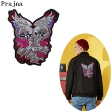 Prajna Punk Skull Patch Ironing Patches Punk Style Cartoon Appliques For Bikers Clothing Motorcycle Cheap Embroidered Patches