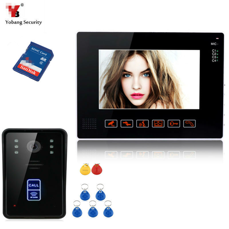 Yobang Security 9inch Door Monitor Video Intercom Doorbell Phone Recorder System SD/TF Card Supported Waterproof RIFD Camera