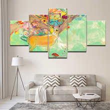 Canvas Painting Abstract watercolor deer 5 Pieces Wall Art Modular Wallpapers Poster Print for living room Home Decor