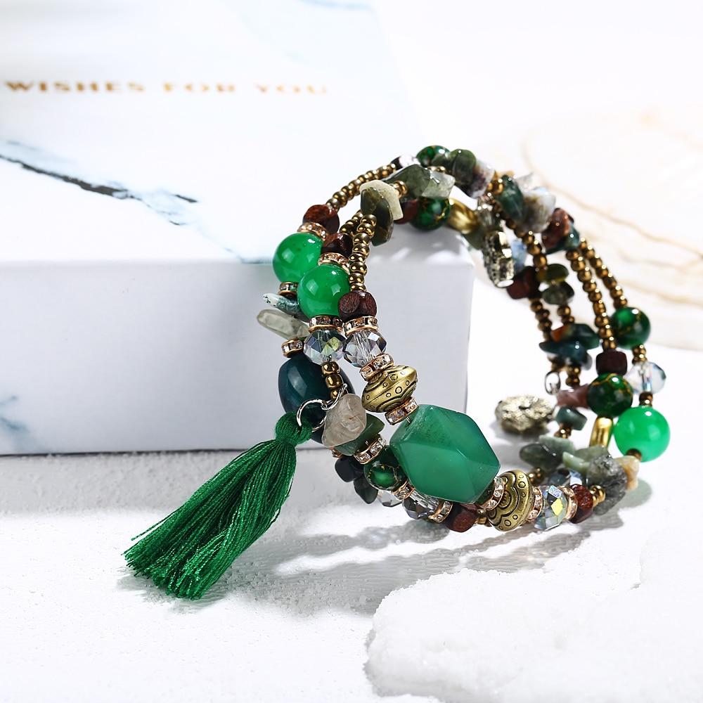 17MILE Bohemian Multilayer Tassel Charm Bracelets For Women 2018 New Ethnic Colorful Resin Stone Beads Bracelet Bangles Jewelry