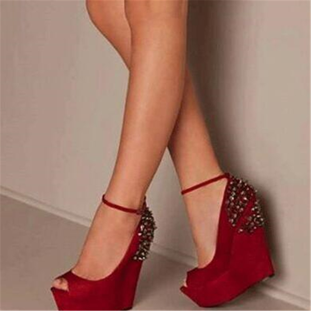 Elegant fashion free postage red suede ankle straps the first 4 cm thick 14 5 cm