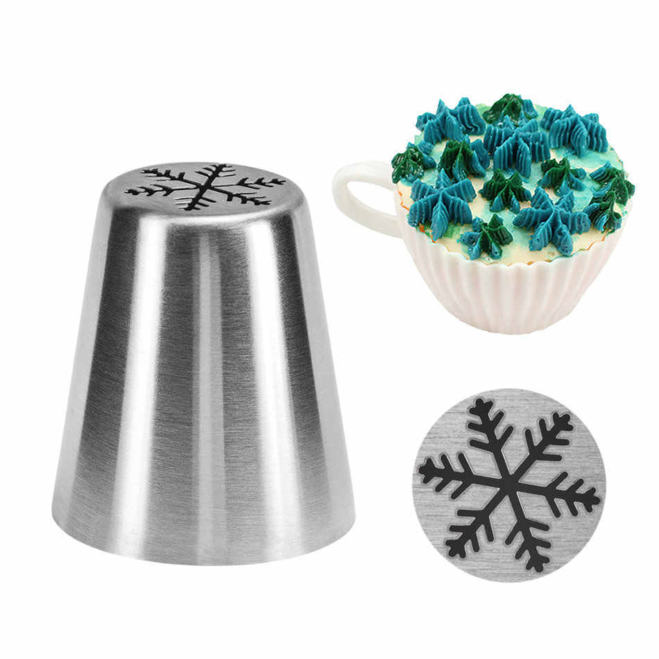 1 PC Kepingan Salju Pola Stainless Steel Dekorator Makanan Penutup Rusia Nozzle Bunga Fondant Icing Piping Kue Tip Cream Torch