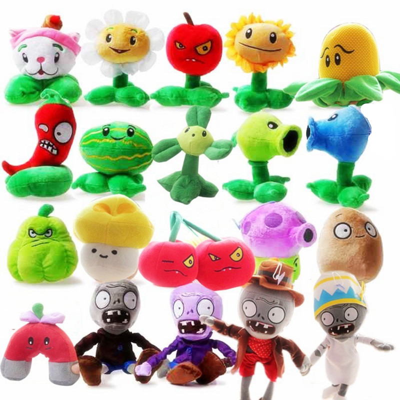 New Fashion 20pcs set Plants vs Zombies Lovely Plush Stuffed Toys Popular Games PVZ Hot Doll