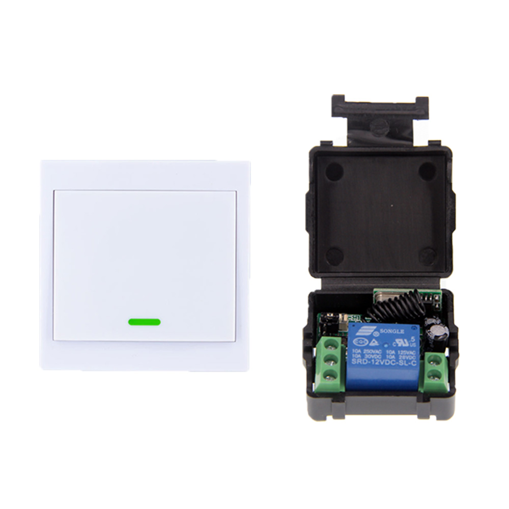 Small Size DC 12V 1CH 1CH 10A RF Wireless Remote Control Switch System, Receiver+86 Wall Panel Transmitter ,315/433.92