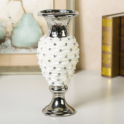 Creative home decorations simple ceramic fashion white modern vase with diamond table flower vase decorative porcelain vase