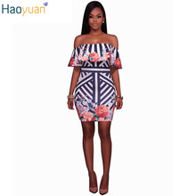 HAOYUAN Ruffle Sexy Bodycon Mini Party Dresses Striped Off Shoulder Floral Bandage Women Dress 2017 Casual Vintage Beach Dress