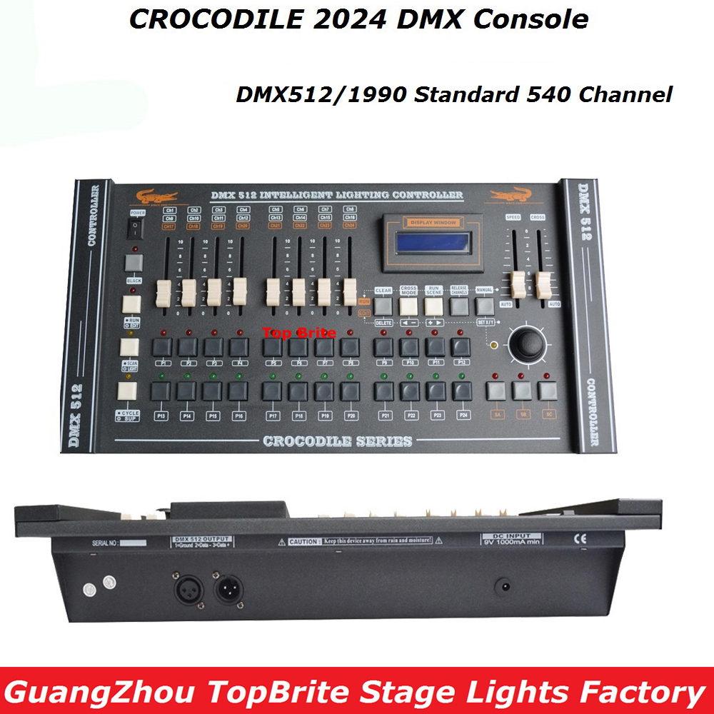2017 CROCODILE 2024 DMX Console DMX512 Controller DMX Lighting Controller For 20 Pcs Computer Stage Lights Moving Head Light dmx512 digital display 24ch dmx address controller dc5v 24v each ch max 3a 8 groups rgb controller