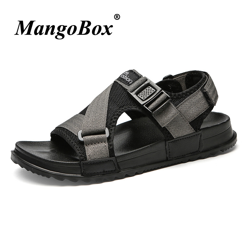 2018 Fashion Casual Shoes Beach Men Mesh Breathable Flat Sandals For Men Black Gray Handmade Brand Outdoor Big Size 46 Sandals