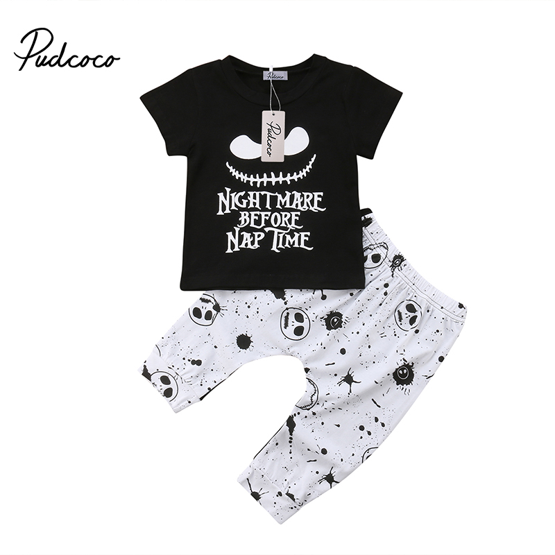 2018 Newborn Kids Baby Boys Halloween Costume Letter Print T-shirt Skull Pants Leggings Outfits Summer Boutique Clothes men letter print side drawstring pants