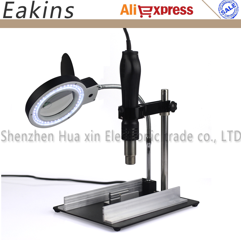 Hot Air Gun Holder/Clamp/Jig +BGA Rework Reballing Station Fixture+8X 40 LED lights Illuminated Desktop Magnifier for PCB Repair